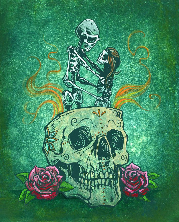 The skeleton couple dances inside a sugar skull with the odds stacked against them and flames all around. Painting ProcessThe...
