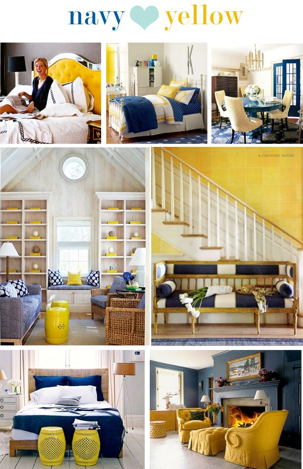 Navy +   I am loving the Navy + color schemes here...  Navy + Yellow is saying something to me. Possible Master bed colors? I like the Navy + Tan also... hhhmmm