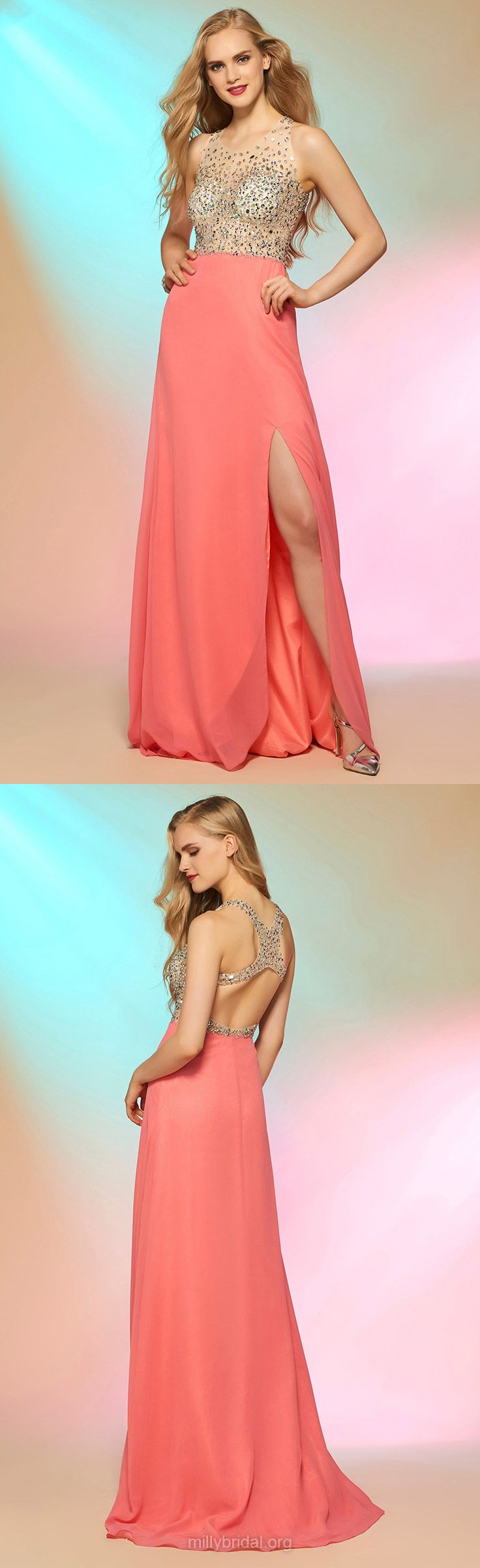Pink Prom Dresses, Long Prom Dresses, 2018 Prom Dresses A-line, Scoop Neck Prom Dresses Chiffon, Tulle Prom Dresses with Split Front