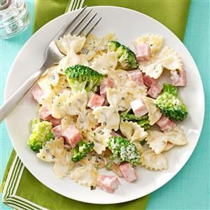 Ham & Broccoli Pasta Recipe -It's hard to beat a meal that's created in one pan, takes 30 minutes to pull together, and your kids actually thank you for making. Sounds like a keeper in my book. —Jana Cathey, Ada, Michigan