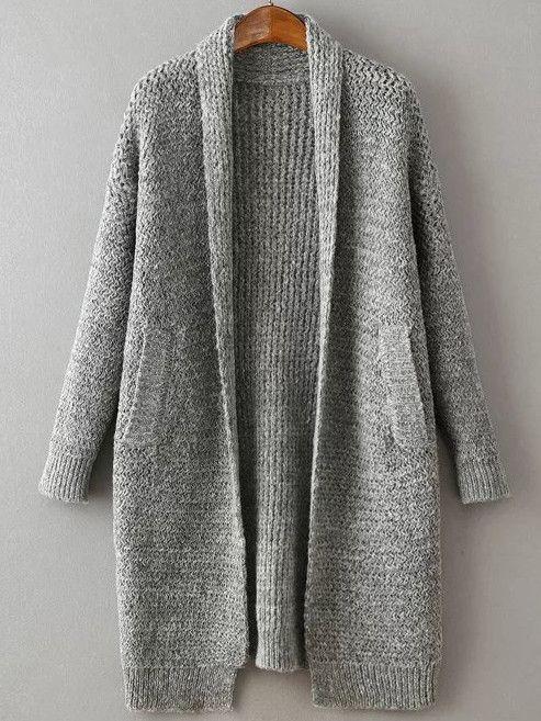 Grey Shawl Collar Long Sweater Coat