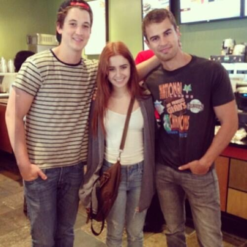 Miles Teller, Theo James and a fan