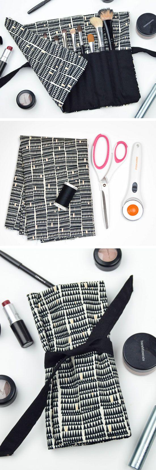 DIY Travel Makeup Brush Roll | 18 DIY Makeup Storage Ideas | DIY Travel Makeup Bag Organization