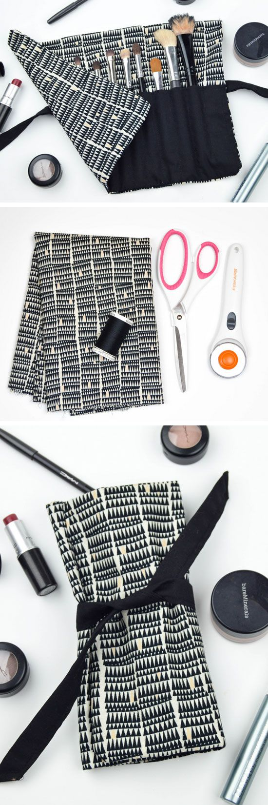 DIY Travel Makeup Brush Roll | 18 DIY Makeup Storage Ideas | DIY Travel Makeup Bag Organization