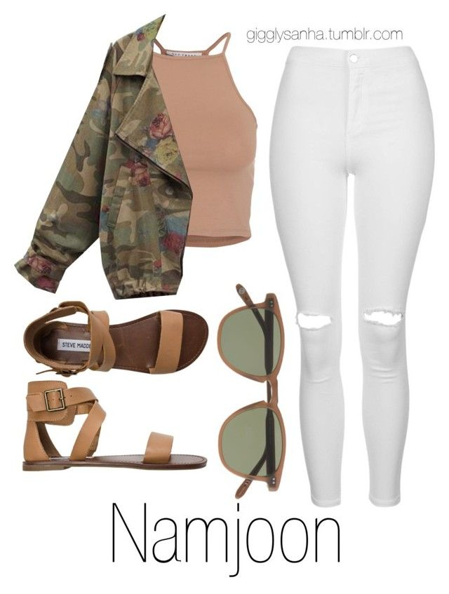 """""""When You First Meet // Namjoon"""" by suga-infires ❤ liked on Polyvore featuring NLY Trend, Topshop, Steve Madden and J.Crew"""