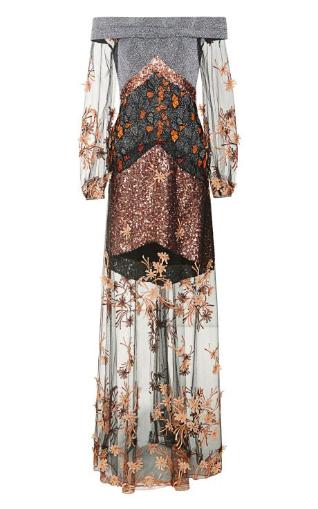 Metallic Off Shoulder Gown With Floral Embroidered Tulle by Rodarte