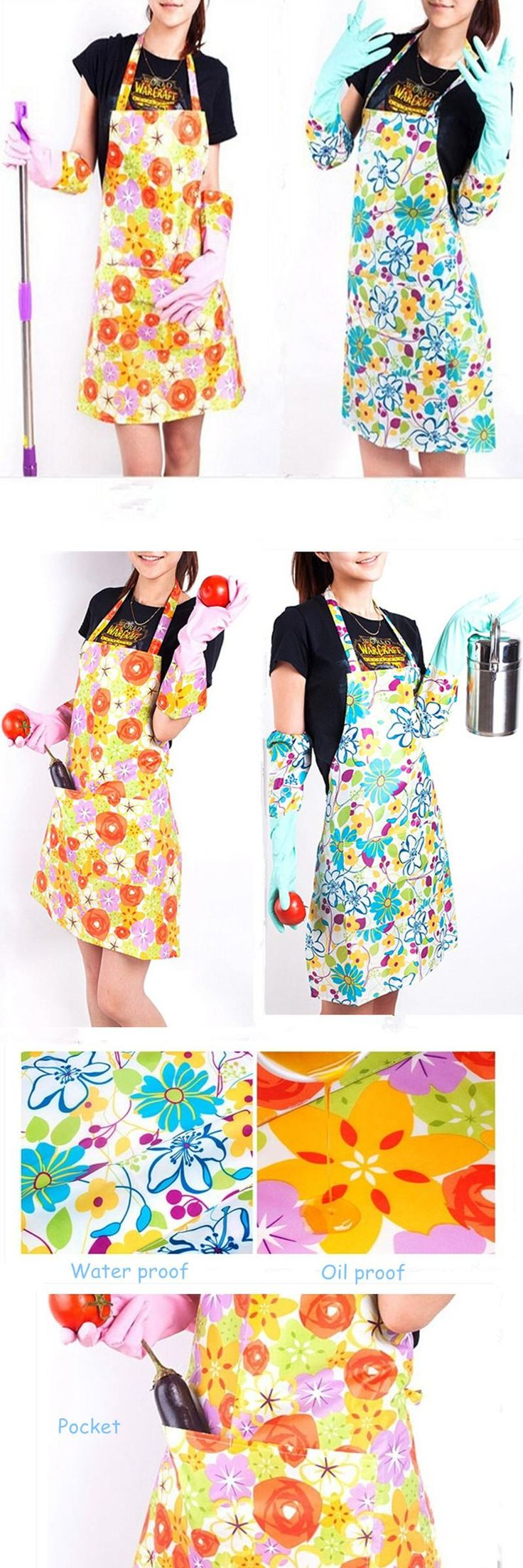 [Visit to Buy] Flower Printing Fashion Women Plastic Kitchen Aprons Cleaning Cooking Cheap Aprons Goodhelper Chef Aprons For Woman Free Ship #Advertisement