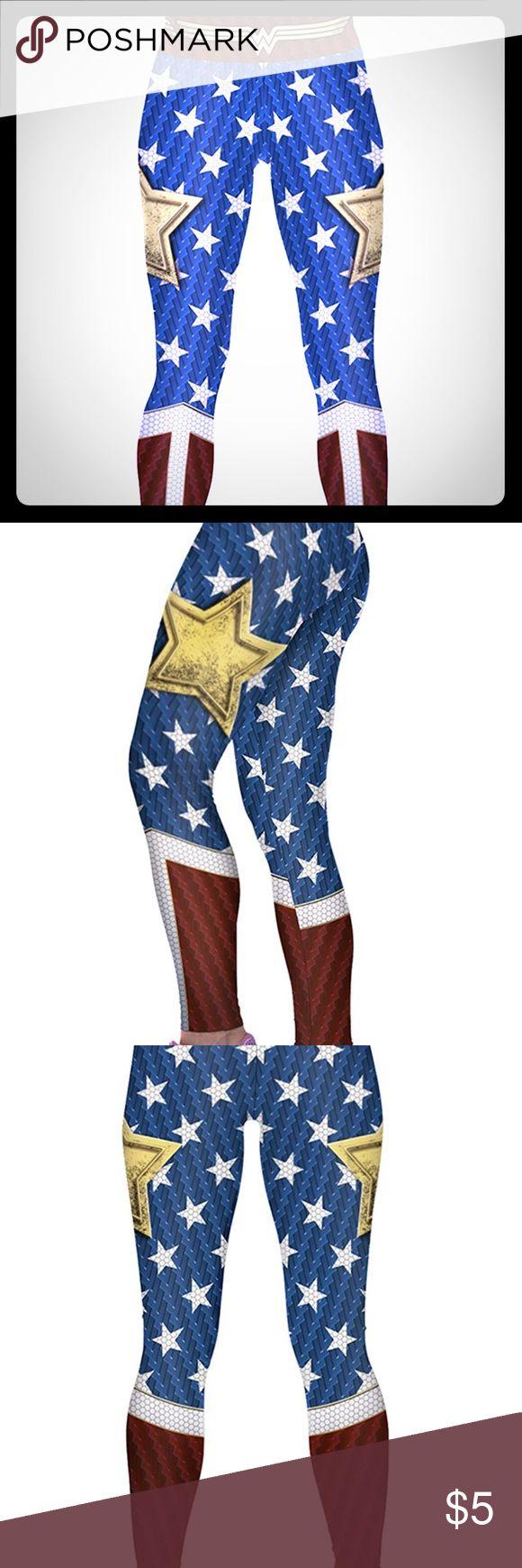 Wonder Woman Leggings! Material: Polyester + Spandex Pants Leggings