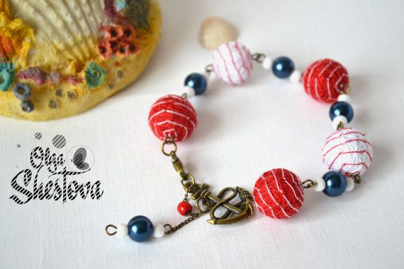 Ожерелье Браслет Серьги из Ниток Алые паруса от OlgaShestova