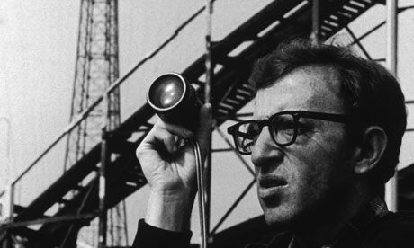 Woody Allen in front of the Cyclone rollercoaster at Coney Island in 1977, while filming Annie Hall.