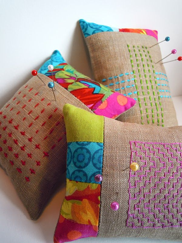pincushions with Japanese Sashiko stitiching