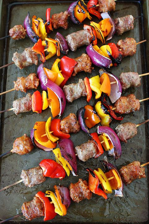 Sausage and Pepper Skewers Recipe on twopeasandtheirpod.com. This quick and easy grilling recipe is perfect for summer! #grilling #summer