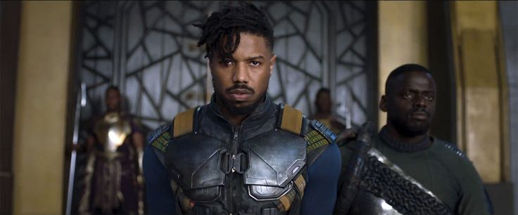 Michael B. Jordan as Erik Killmonger and Daniel Kaluuya as W'Kabi in Black Panther