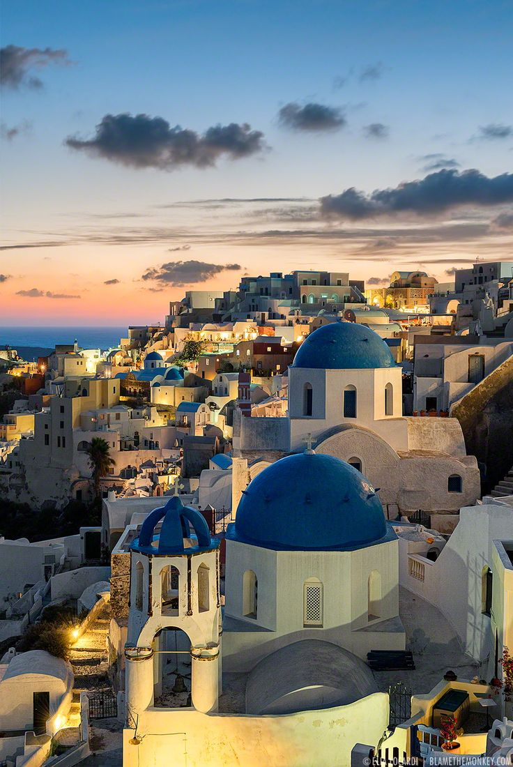 Blue Hour in Oia, Santorini, Greece