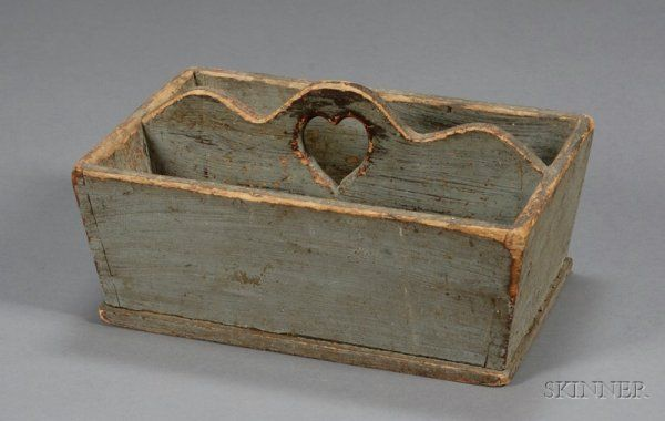 Gray-painted Pine Cutlery Box with Cut-out Heart  probably New England, early 19th century, with dovetail construction, ht. 6 3/4, wd. 8 1/2, lg. 12 3/4 in.