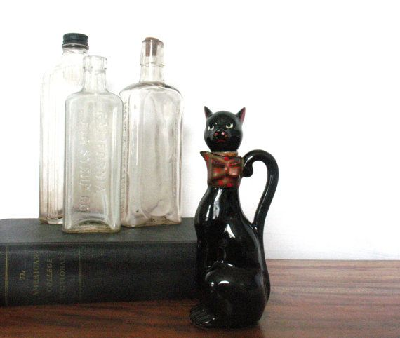 rare black cat bottle vintage ceramic oil bottle vintage halloween decor free shipping