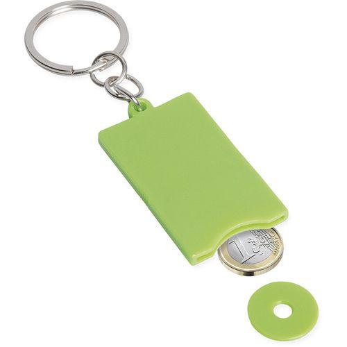 Portachiavi con disco in plastica estraibile per il carrello spesa. può contenere anche una moneta da 1 € anello in metallo cromato personalizzabile fronte e retro