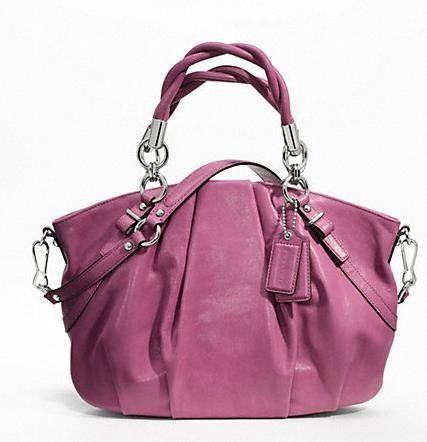 Coach Madison Pleated Leather Sophia Handbag Purse Rose 22563