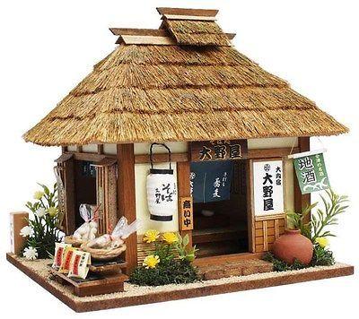 Japanese doll house nostalgic miniature model soba noodle shop handmade Showa