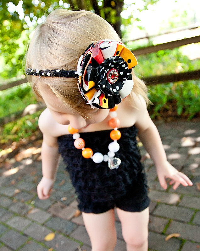 Halloween Headband / Alexander Henry Kleo Fabric Flower Headband / Fabric Flower Headband / Children Headband /  Fall Headband