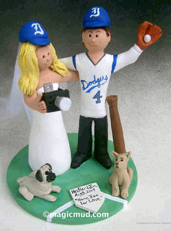 Dodgers Baseball Fans Wedding Cake Topper    Wedding Cake Topper for MLB Baseball Fans, custom created for you!    $235   #magicmud   1 800 231 9814   www.magicmud.com