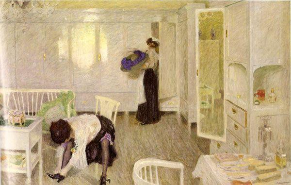 Innocenti, Camillo, (1871-1961), In Ritardo, 1910, Oil