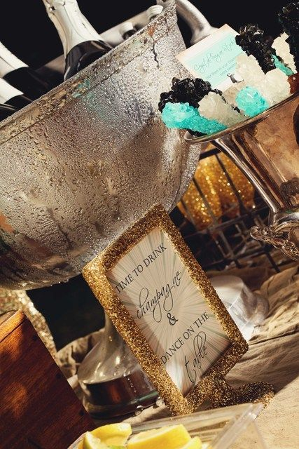 Aqua Gold Silver Glitter Theme Christmas Holiday Party