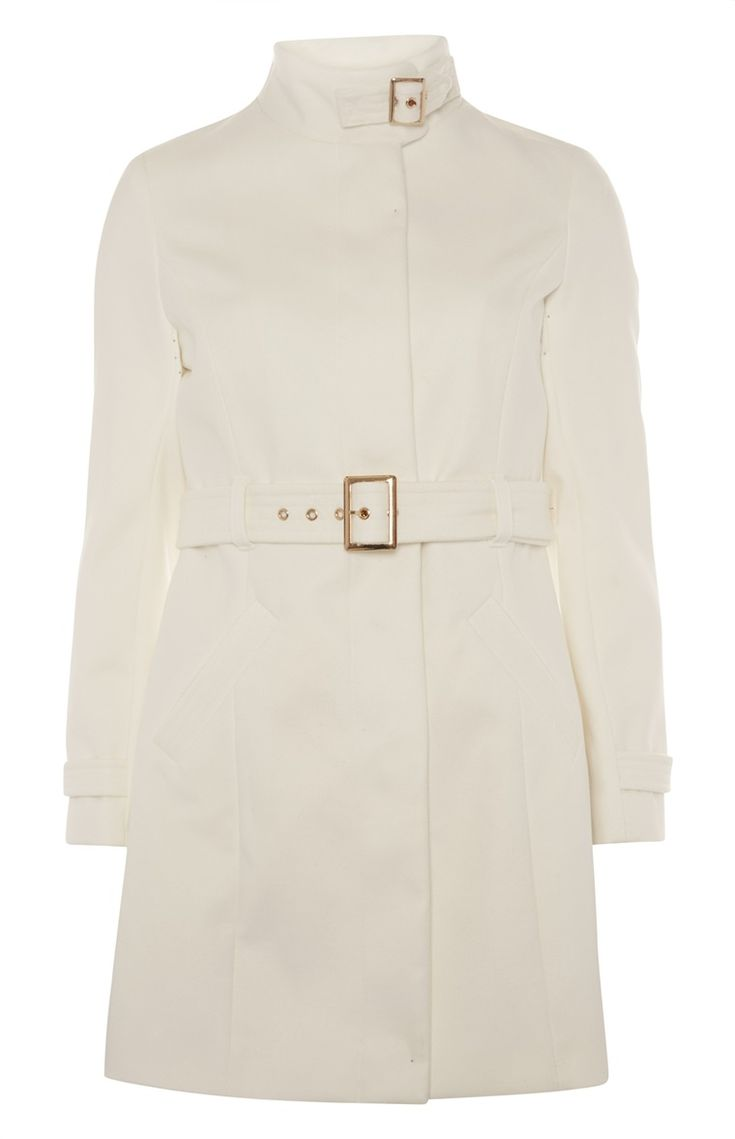 White Funnel Neck Buckle Coat
