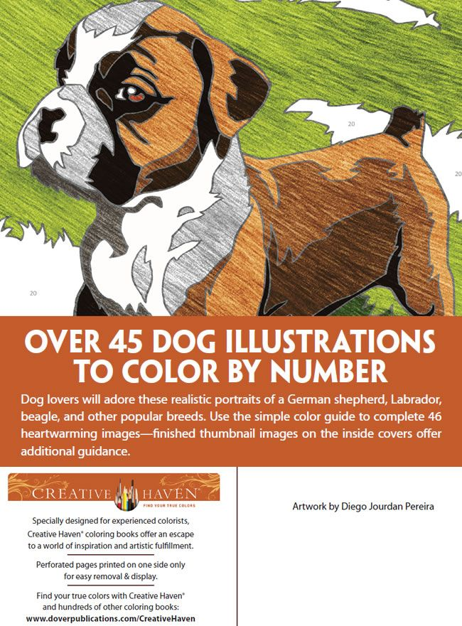Creative Haven Dogs Color by Number Coloring Book ...