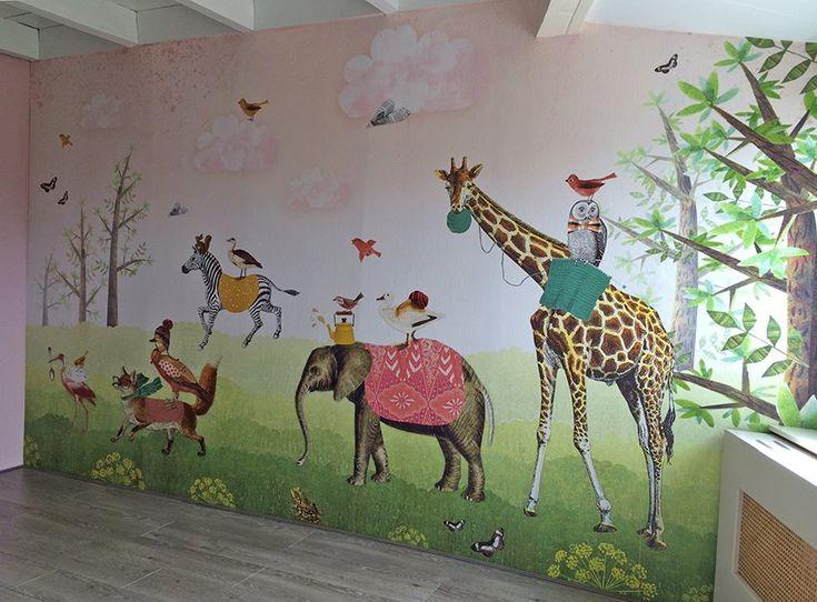Behang Dierenparade #kidswallpaper #kinderbehang #wallpaper #pimpelmees