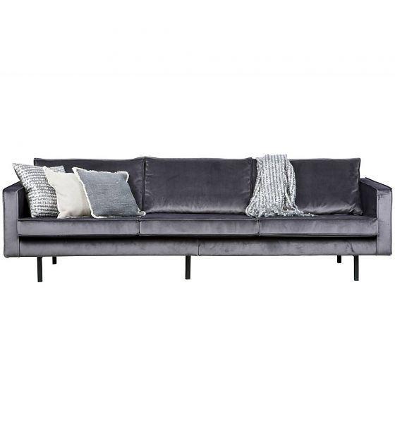BePureHome Bank Rodeo 3-zits fluweel velvet grijs 85x277x86cm - wonenmetlef.nl