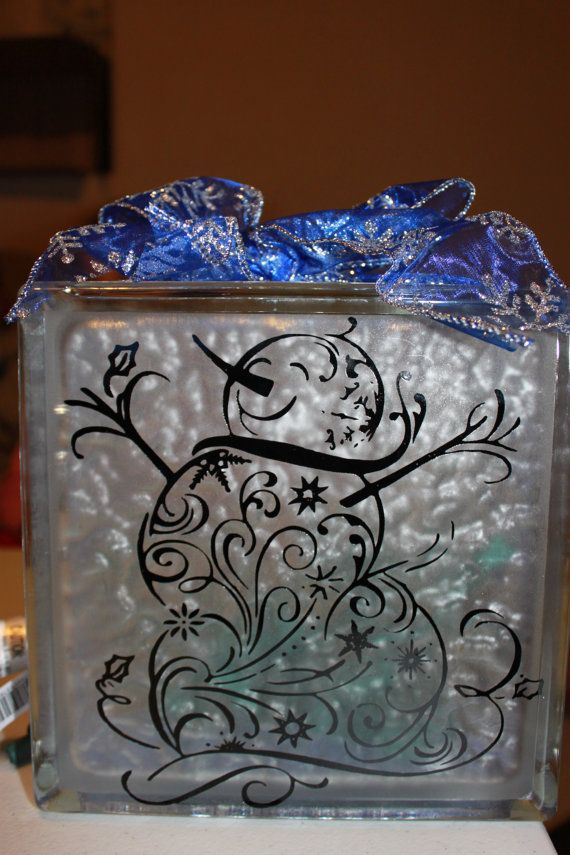 Snowman Glass Block with Vinyl and Lights
