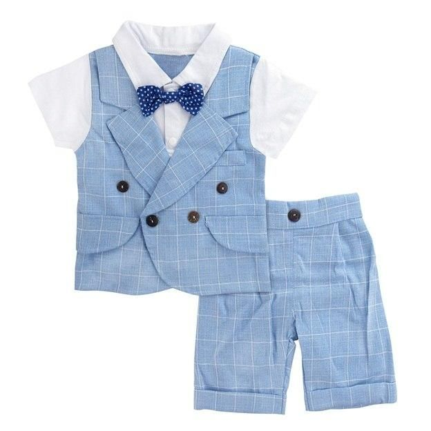 5c55f2b86 Baby Boy Gentleman Romper with Bow Tie Infant Party Playsuit Formal ...