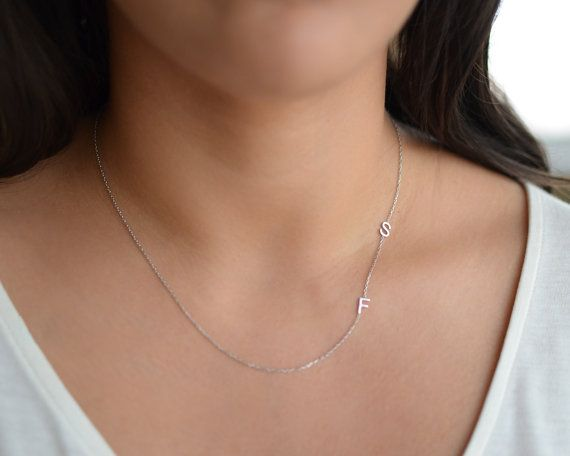 Sideways Initial Necklace / Letter Necklace Gold by AtelyeSade