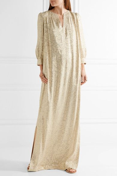 Beige and gold fil coupé silk-blend Slips on 65% silk, 35% metallic fibers; lining: 100% polyester Dry clean Designer color: Champagne