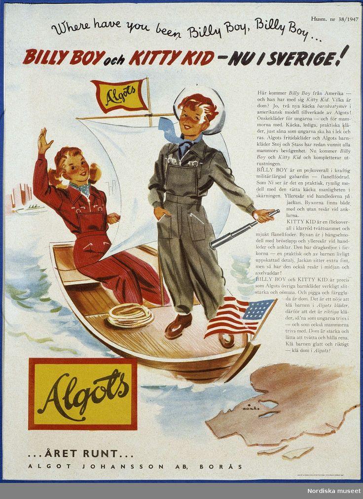 """Ungdomsmode, jeans. Annons för Algots ur Husmodern, 1947. """"Billy Boy och Kitty Kid """"nu i Sverige"""". Pojke och flicka i en roddbåt som bär den amerikanska flaggan i fören."""