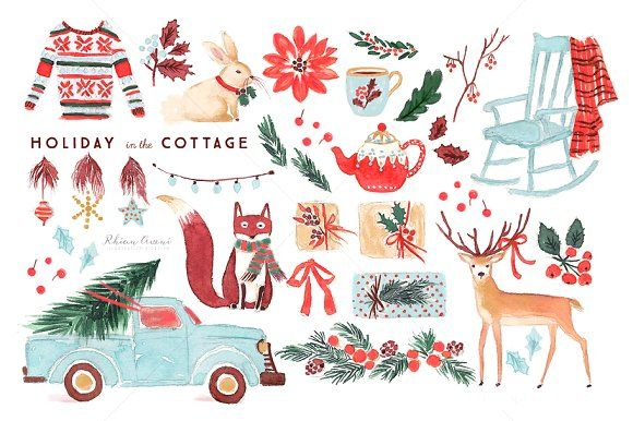 Watercolor Holiday Clip Art Set by RhianAwni on @creativemarket