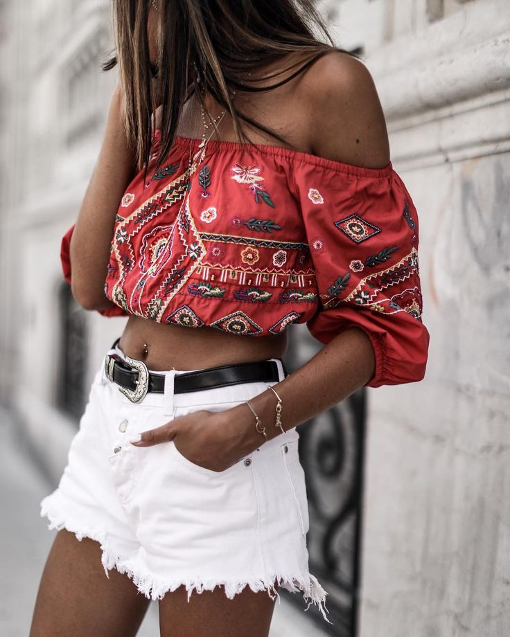 Off the shoulder crop top.