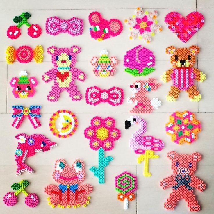 Pink perler bead crafts