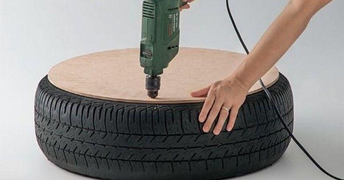 Recycler un pneu d'occasion pour en faire un joli pouf.