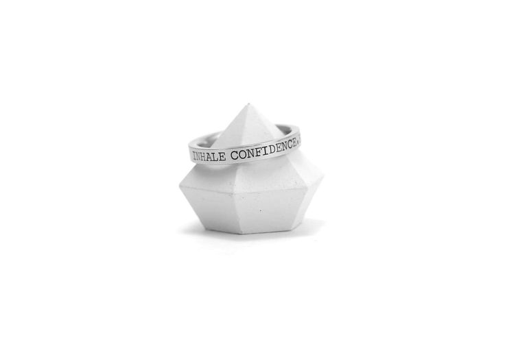 Personalized Engraved Ring Band - Inhale Confidence, Exhale Doubt - Anxiety Ring - Hand Stamped - Inspiration - Motivation - Yoga Quote
