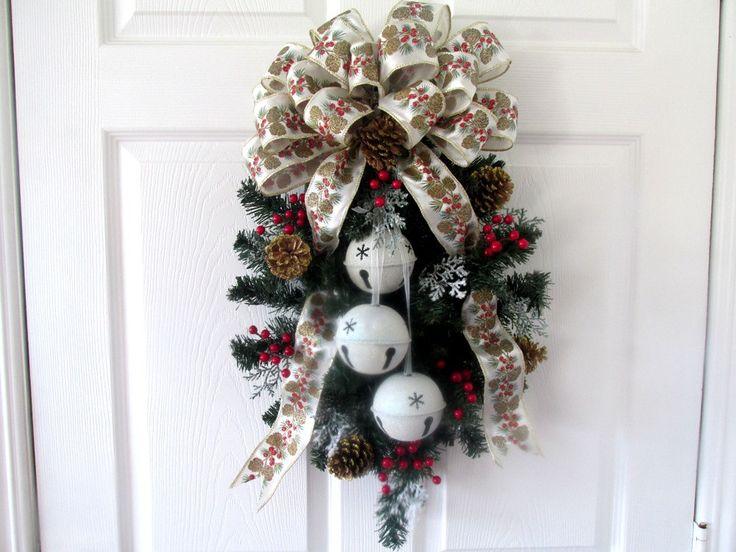 Christmas Door Swag / Holiday Door Swag / Jingle Bell Door Hanging / White Red Gold Door Hanging / Christmas Decor / Door Hanging Swag by QuailHollowCreations on Etsy