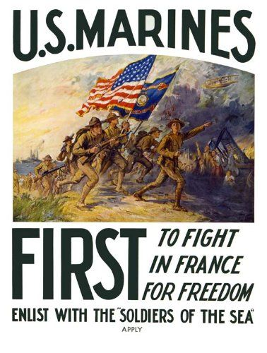 US Marines, First to fight, in France, for Freedom, Enlist with the soldiers of the sea USMC recruiting poster