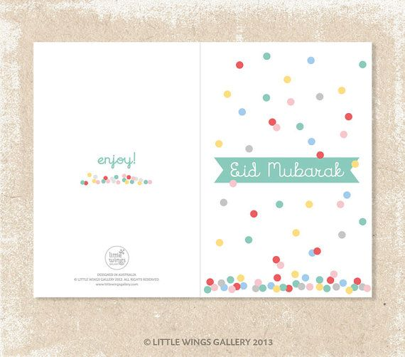 ( POP PRINT ) - Digital Downloads by Little Wings Gallery Eid Mubarak Greeting Card (Confetti 2 Design) This Little Wings Gallery ( POP