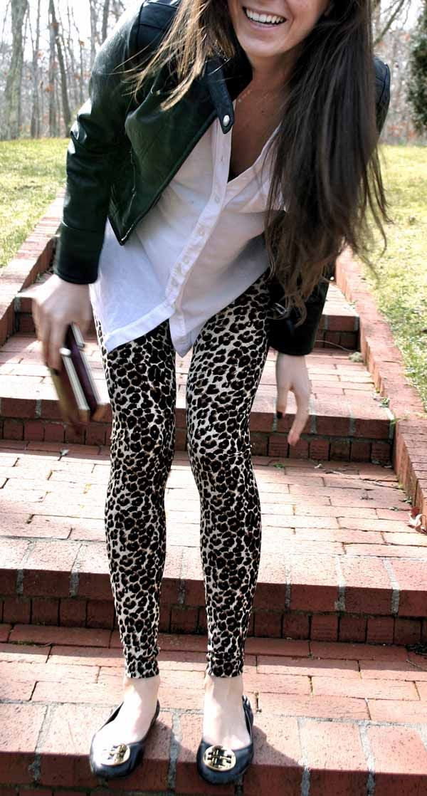 outifts with leggings images | leopard print leggings outfit