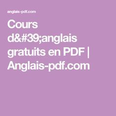 Cours d'anglais gratuits en PDF   Anglais-pdf.com