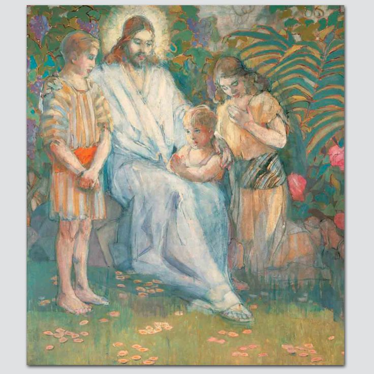 Minerva Teichert - Christ and the Children from Latter-Day Home