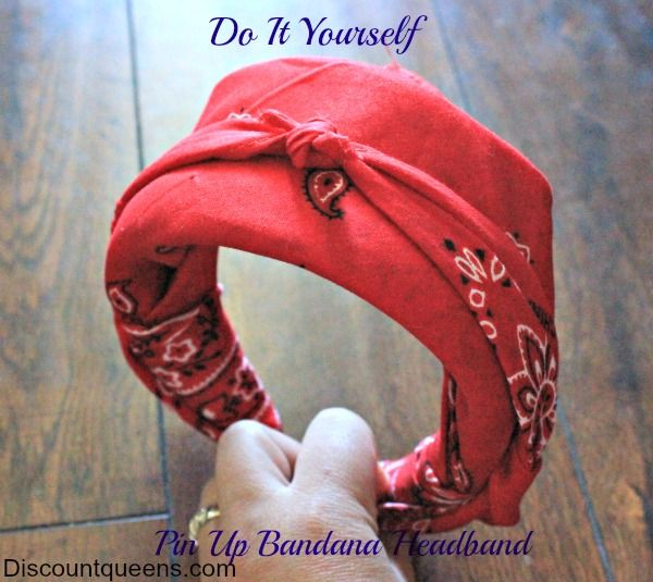 DIY Pin Up Girl Bandana Headband! No Sew! Awesome! I can't get any style of tied or elastic headscarf to stay put without 300 bobbypins so this is great.