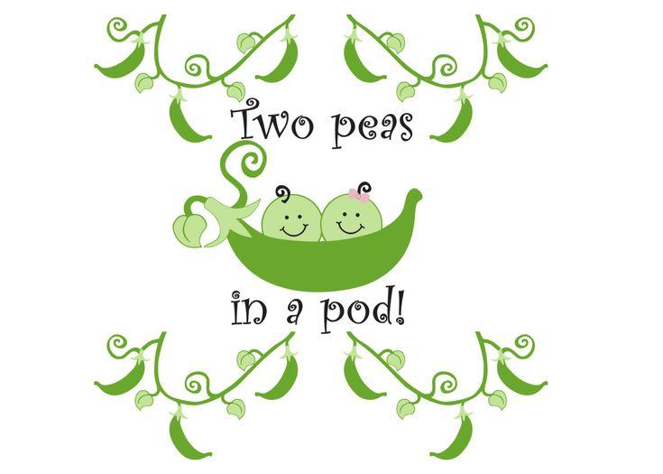 Two Peas in a Pod Twins Nursery Vinyl Wall Art  4 by WildEyesSigns, $55.00