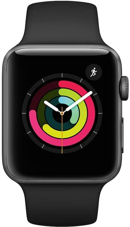 Apple Watch Series 3 (GPS) 42mm Space Gray Aluminum Case with Black Sport Band - Smart activity coaching. An enhanced Heart Rate app. Your favorite playlists right on your wrist. A built-in altimeter. And a more powerful processor that lets Siri speak to you. Introducing Apple Watch Series 3.